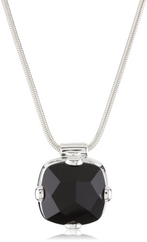 Zina Sterling Silver Contemporary Collection Faceted Onyx Pendant Necklace