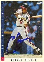 Carlos Baerga Cleveland Indians 1993 Score Autographed Hand Signed Trading Card.