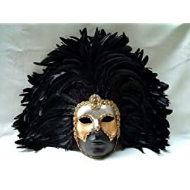 Si Lucia Masquerade Full Brown Deco Face Black Feathers Carnival Mask