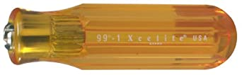 """Xcelite 991 Screwdriver Handle For Interchangeable Blade, Amber, 13/16"""" Diameter, 4"""" Handle Length"""