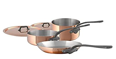 Mauviel 6450.01 5 Piece Cookware set Cast stainless Steel Handle with Iron Color Finish, Copper