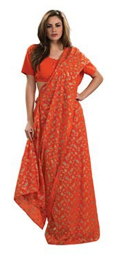 Orange Sari Indian Dress Womens Halloween Costume front-1056022