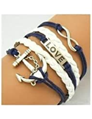 BRCbeads Top Quality Bracelet Bronze Infinity Lady Retro Knit Charms PU Suede Wrap Love Anchor Blue White