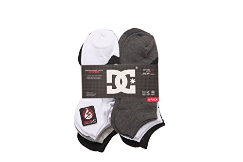 DC 6-Pack Men's Sport No Show Socks Assorted, 10-13 Size (Shoe Size 6-12.5) (White-Black)