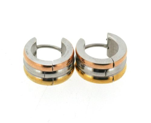 Tri-tone Stainless Steel Earrings Gold Silver & Bronze