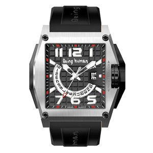 BEING HUMAN-1012 SS BlackWhite dial BLACK RS