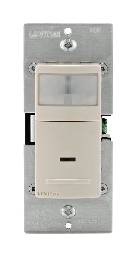 Leviton Ipv02-1Lt 300-Watt Incandescent, 150-Watt Led/Cfl Vacancy Sensor (Manual On/Auto Off), Single Pole, Light Almond