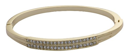 Jodie Rose Crystal Double-line Hinged Gold Plated Bangle