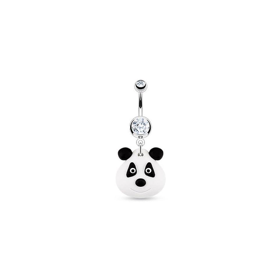 Black & White Clay Panda Bear Navel Ring Dangle Belly Button Piercing Jewelry w/Clear CZ Gem Jewelry
