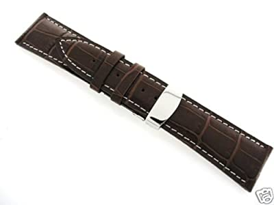 19mm Leather Deployment Band Strap for Tag Heuer #1 Brown from EWP
