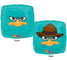 "Perry the Platypus 18"" Square Shape Balloon Phineas & Ferb Disney Birthday Party - 1"