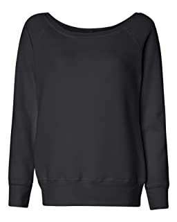 Bella Ladies 8.2 oz. Mia Slouchy Wideneck Fleece - Solid Black - S