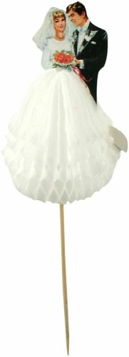 Party Partners Design Bride and Groom Tall Decorative Food Picks, Black/White, 12 Count