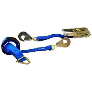 2''X 8' Short Wide Ratchet Strap W/ Axle Strap (Single) - Car Tie Down with 2 Twisted Snap Hooks - 10,000 lb Break Strength