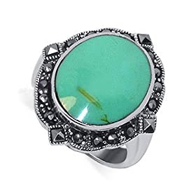 Cute Sterling Silver Marcasite Band Reconstituted Turquoise Inlay Ring