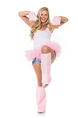 Fluffy Furry Leg and Hand Warmers with Tutu (Candy Pink)