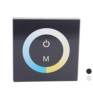 Ddltm07 Touch Panel Led Color Temperature Dimmer Controller For Pure/Warm White Led Strip-Black(Dc12V-24V 8A 2Ch)