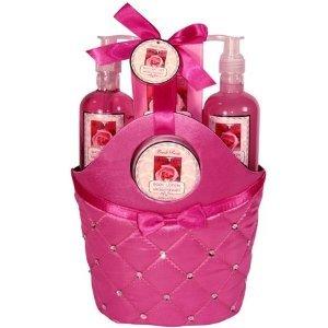 Morgan Avery Bath and Body Satin Rhinestone Bag Gift Set, Rose