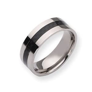 Titanium Carbon Fiber Flat 8mm Polished Band Ring Size 12.5