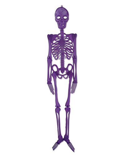 4' Purple Hanging Plastic Skeleton Creepy Halloween Decoration