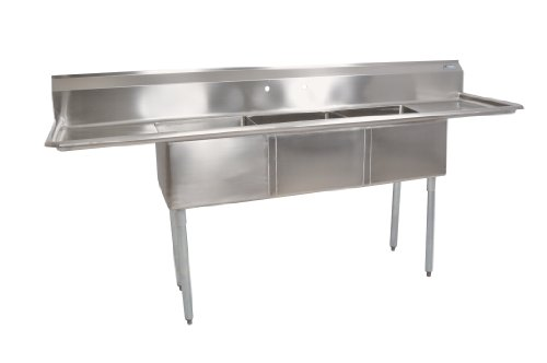 John Boos E Series Stainless Steel Sink, Multi Bowl, 3 Compartment, 15