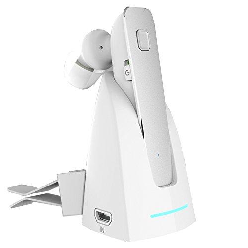 allimity Bluetooth 片耳 イヤホン V4.1 両耳兼用 マグネット式の充電台付き 2つ電力供給方法(Silver)