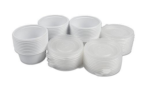 2 Ounce Plastic Disposable Sauce Cups Lids Travel Container Portion Light (Set of 50) (Small Cups With Lids Disposable compare prices)