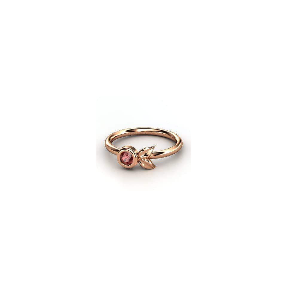 Boutonniere Ring, Round Red Garnet 14K Rose Gold Ring