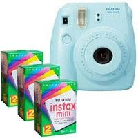 FujiFilm Instax Mini 8 Camera, 62x46mm Picture Size, Blue - Bundle - with Three TwinPacks of Fujifilm Instax Mini Instant Daylight Film, 20 Exposures (Total 60 Sheets)
