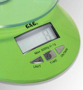 GundG KE-G Balance de cuisine numérique avec heure et fonction Tare Vert 5 kg