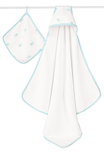 aden + anais Classic Hooded Towel + Washcloth Set, Hide and Sea - 1