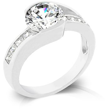 White Gold Rhodium Bonded Engagement Ring with Clear Cubic Zirconia