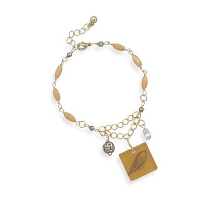 Gold Tone with Coral Bead Fashion Charm Bracelet