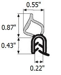 Trim seal Vertical Bulb (large bulb) Lock Seal (Trunk Seal) 0.87