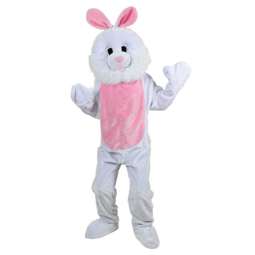 White Easter Bunny Rabbit Mascot Adult Mens Fancy Dress Costume