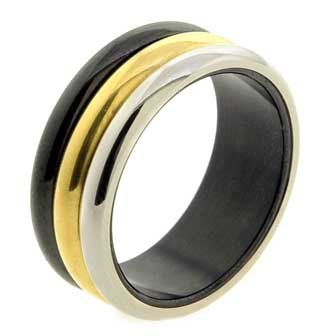 8MM Polished Stainless Steel Wedding Band Ring For Women with Black Gold and Silver Plated Colors