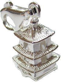 My-Lucky-Charms - Chinese Pagoda 3D Sterling Silver Charms moveable little Buddha inside