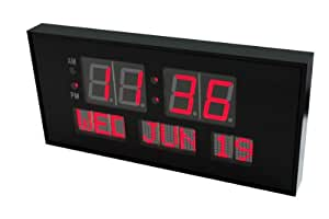 "Metro Digital LED Calendar Clock, 15 3/4"" Day and Date 