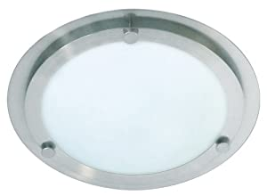 Ranex Tula Wetline Ceiling Light in Brushed Steel and Glass by Ranex