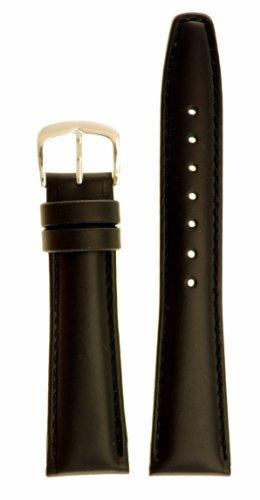 Men's Genuine Italian Leather Watchband - Color Black - 17mm Width - Regular Length Watch Band - By JP Leatherworks
