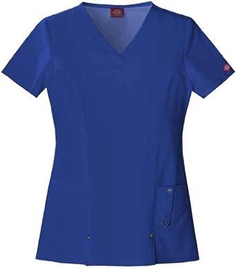 Dickies Medical Scrubs 82851 Women's Jr Fit Xtreme Stretch V-Neck Scrub Top Galaxy Blue XX-Small