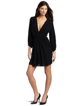 Amanda Uprichard Women's Deep V Dress, Black, Small