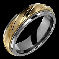 Ela - size 4.00 Titanium Ring with Swiss Cut 14K Gold Design Center