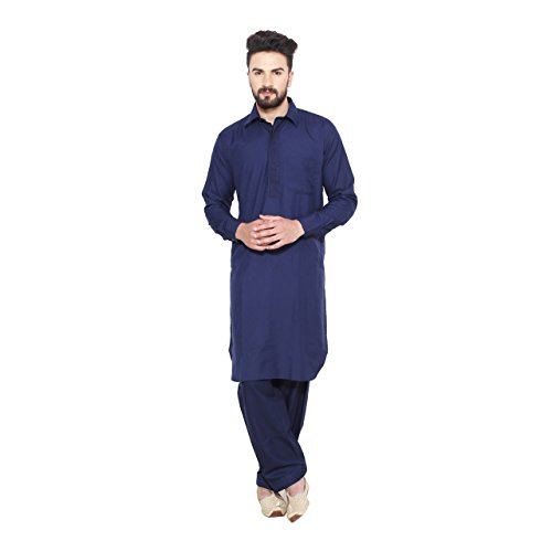 Sojanya (Since 1958), Navy Blue, Pathani Kurta Salwar with thread embroidery on neck, Cotton Blend, Size: 42