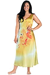 Women's Elegant Silk Night Gown (Autumn in New England) Luxury Gifts for Her