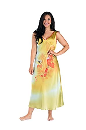 Womens Long Nightgown Silk Sleepwear - Autumn in New England (Small) - Women's Intimate Sleepwear Apparel Clothes Clothing Slip; Great Gifts Gift Ideas Women Presents Summer Winter Luxury Gifts Ideas for Women WS0402-GLD-S