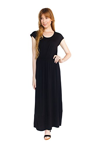 Cap Sleeve Scoop Neck Maxi Dress By The Everyday Maxi - Black - Large