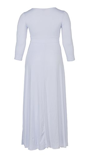 POSESHE Women's Solid V-Neck 3/4 Sleeve Plus Size Evening Party Maxi Dress (XXXL, White)