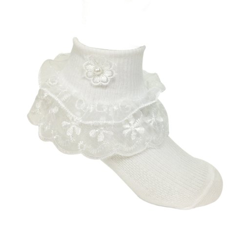 Wrapables Lil Miss Daisy Double Layer Lace Ruffle Socks (Size of 1-3), Set of 2 (Feet Lace compare prices)