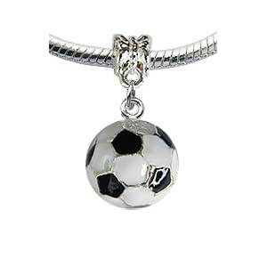 Lovely 3D Silver plated Soccer Ball charm - fits pandora & troll bracelets - hand polished and hand finished to fine jewellery standard - hand painted enamel colouring